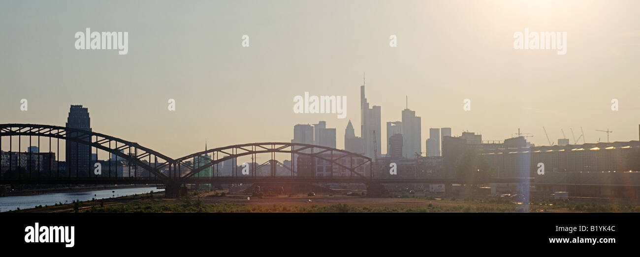 Frankfurt Germany Evening Skyline 2008 - Stock Image