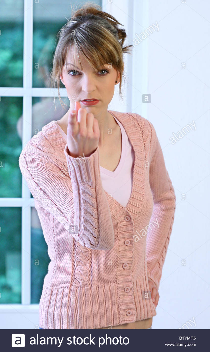 woman with wagging index finger - Stock Image