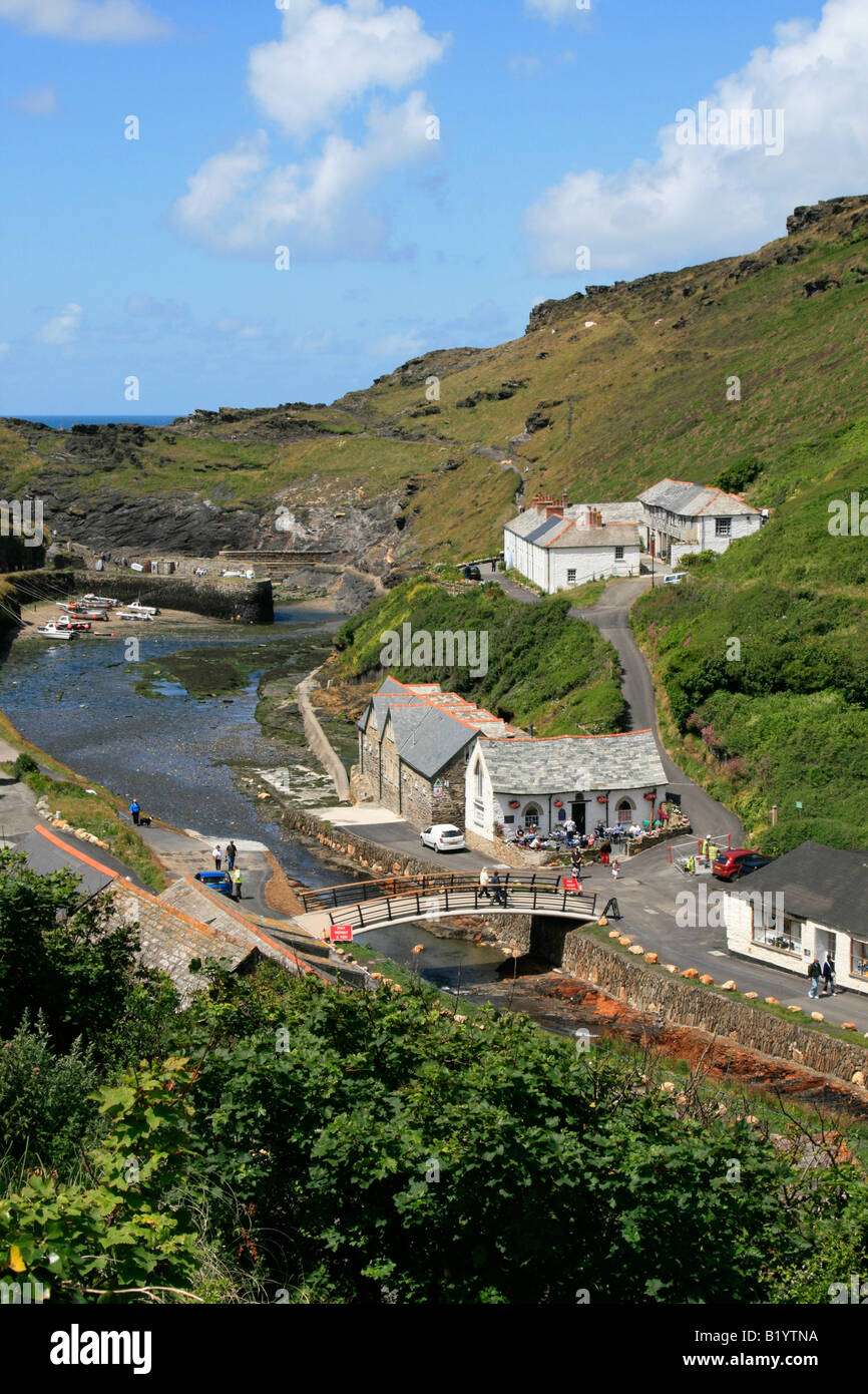 Boscastle  village river valency fishing port on the north coast of Cornwall, England. - Stock Image