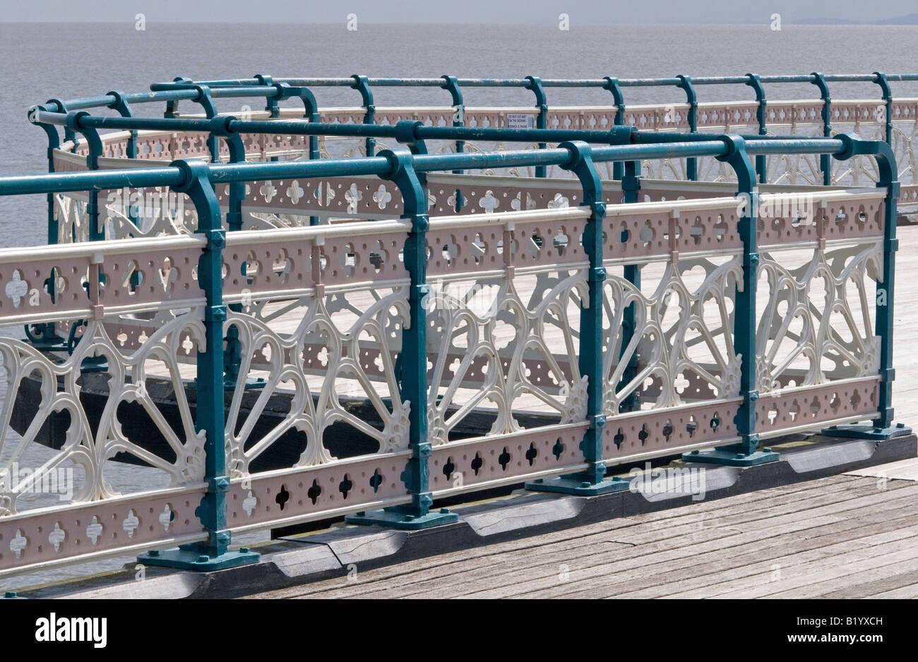 Cast Iron Railings on Penarth Pier South Wales - Stock Image