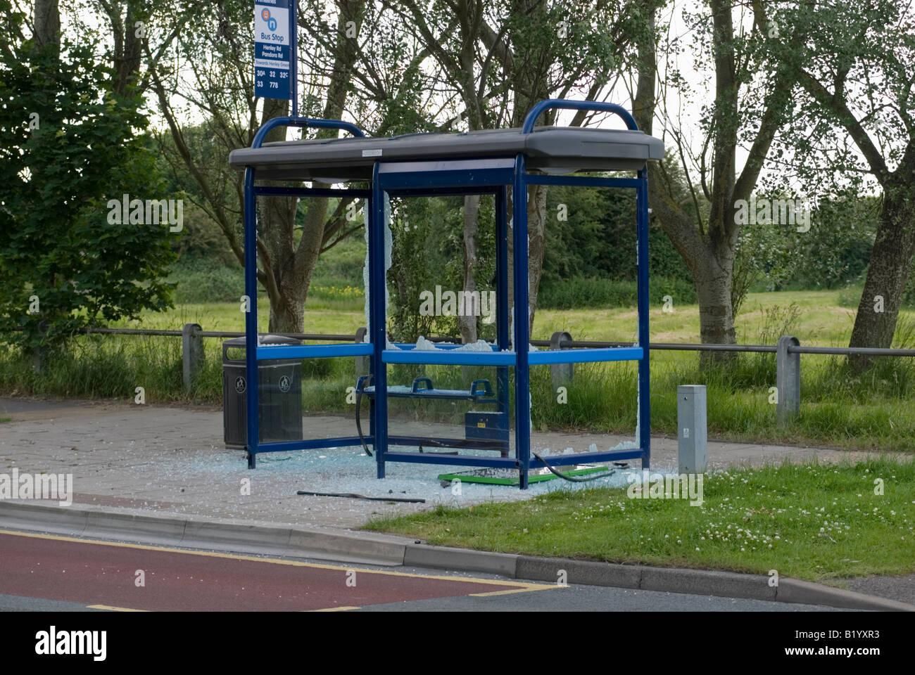 Vandalized Bus shelter - Stock Image