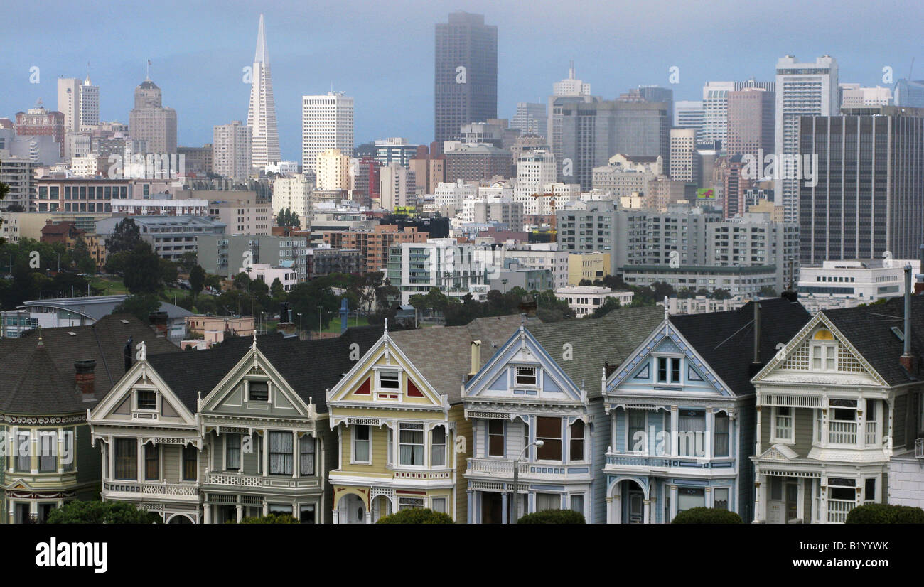 The San Francisco, California skyline as seen from Alamo Square on June 16, 2008. (Photo by Kevin Bartram) Stock Photo