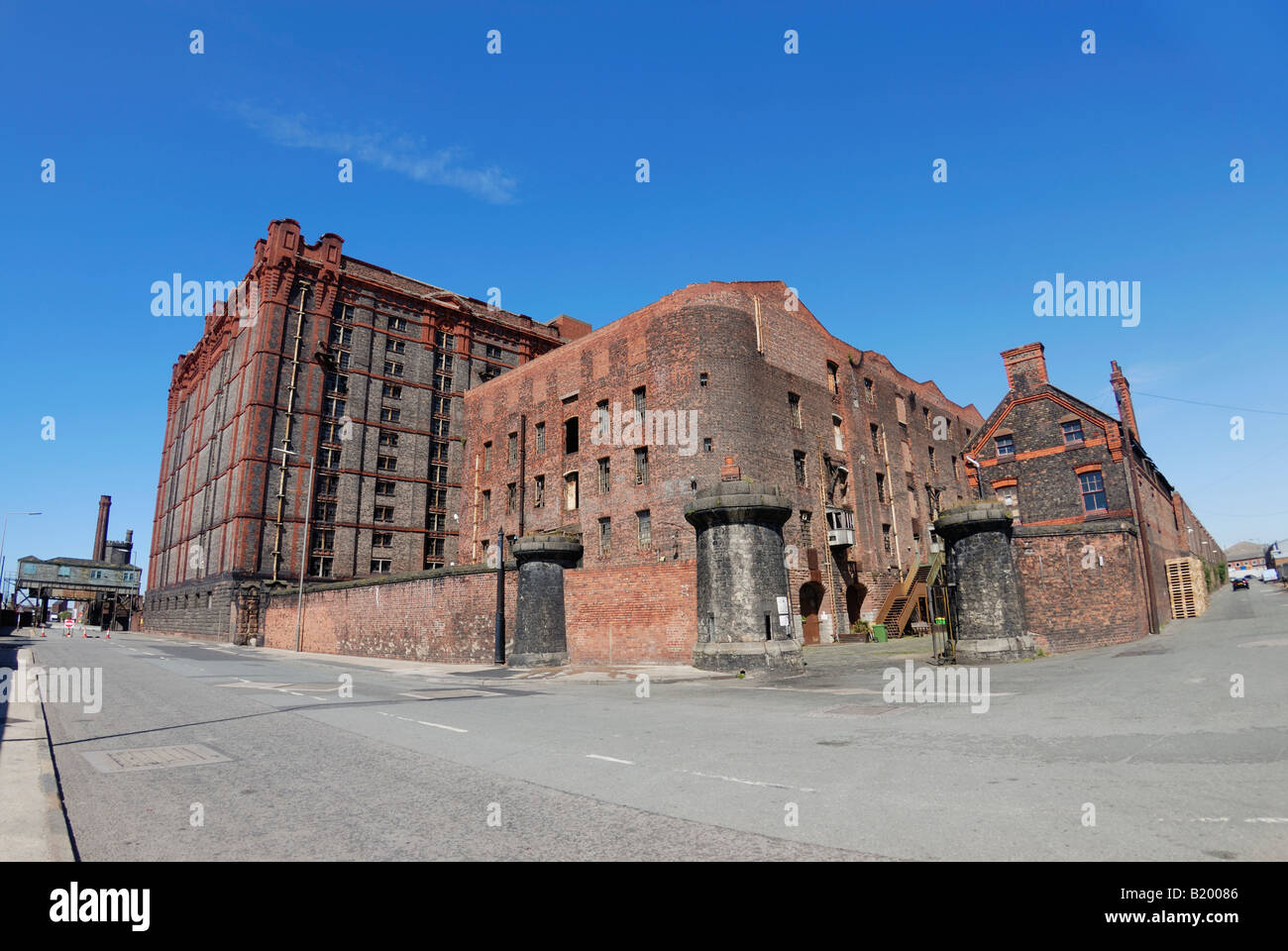 The Grade II listed buildings of the Tobacco Warehouse complex at Stanley Dock by Liverpool Docks Stock Photo