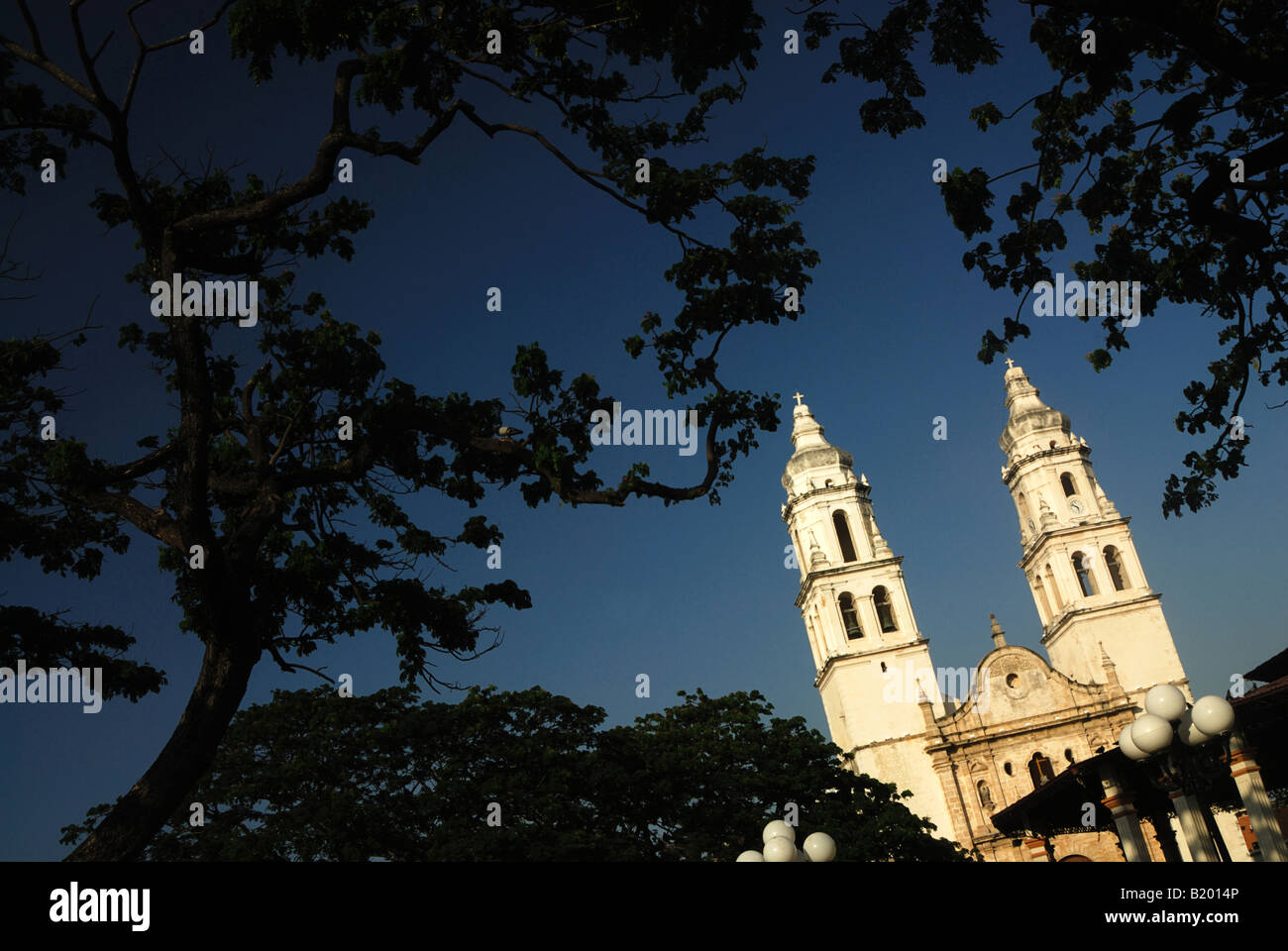 The cathedral of Campeche Yucatan, Mexico Stock Photo