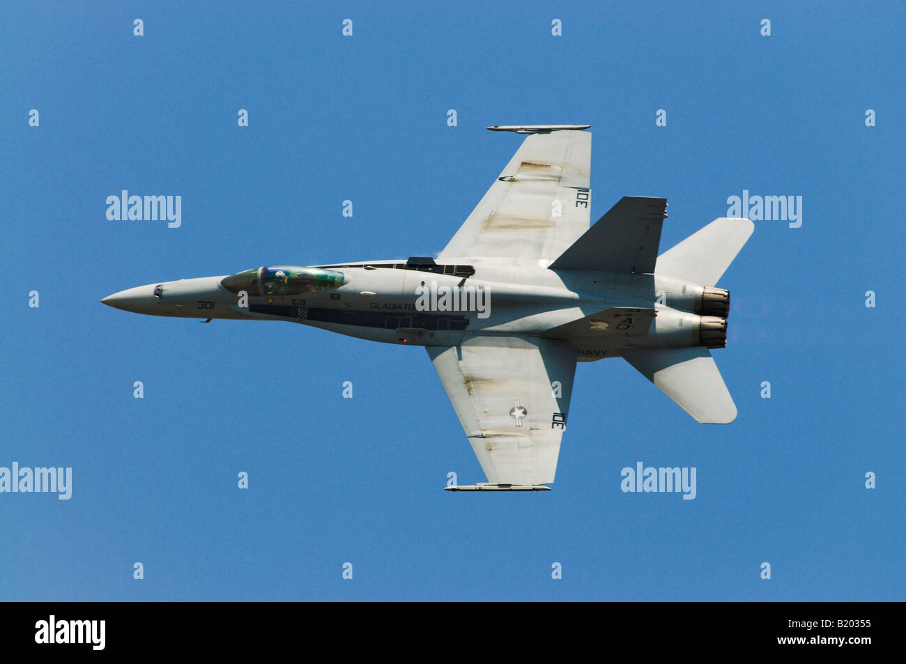 A Boeing F/A-18 flies at an air show in Quonset Point RI. Stock Photo