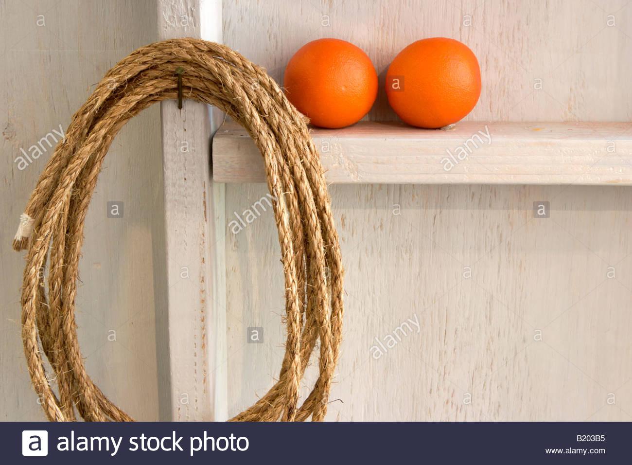 Rope Lasso and Oranges Still Life Fullerton Arboretum California - Stock Image