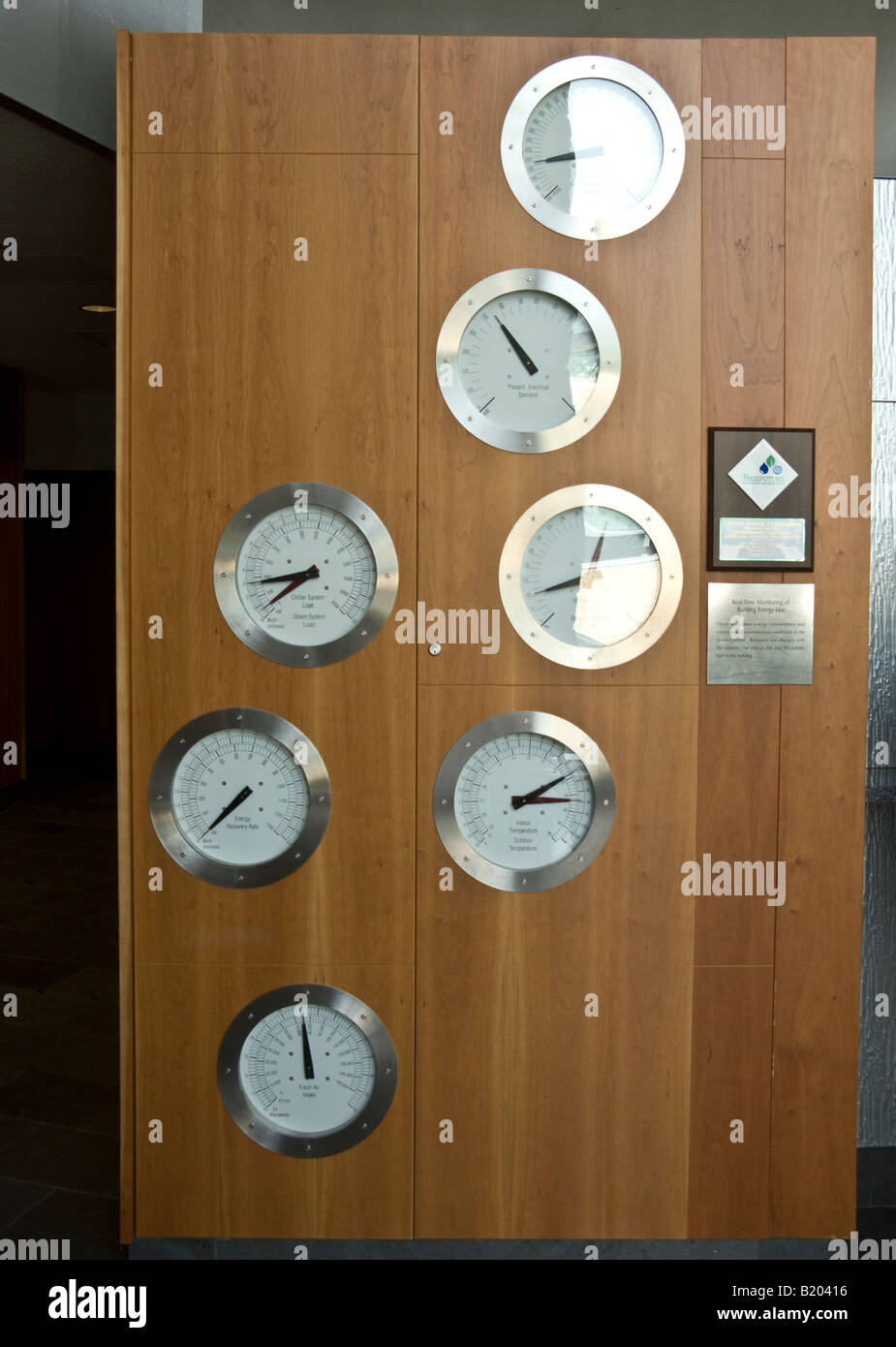 Dials monitoring energy use, commons interior, Swarthmore College Unified Science Center - Stock Image