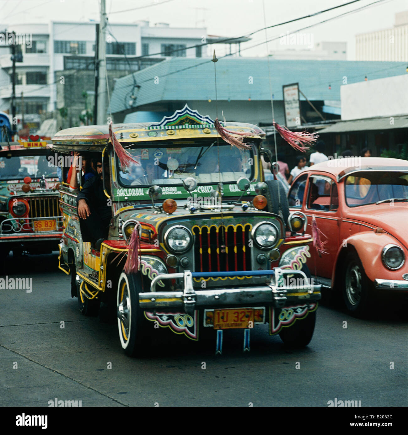 The Philippines.Jeepneys are the standard form of transport throughout the Philippines.They were originally leftover - Stock Image