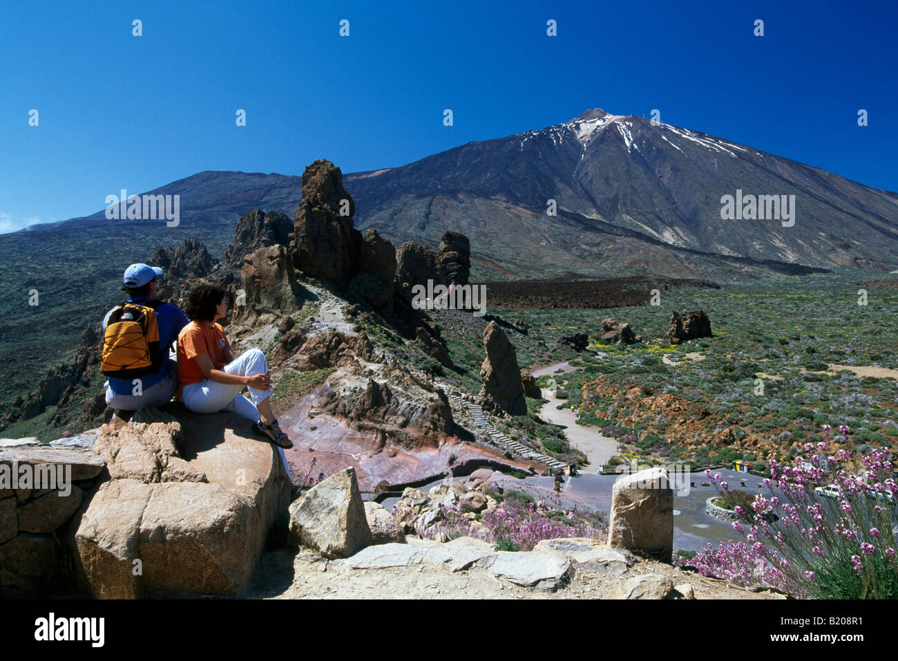 Hiking couple at Mount Teide Tenerife Canary Islands Spain - Stock Image