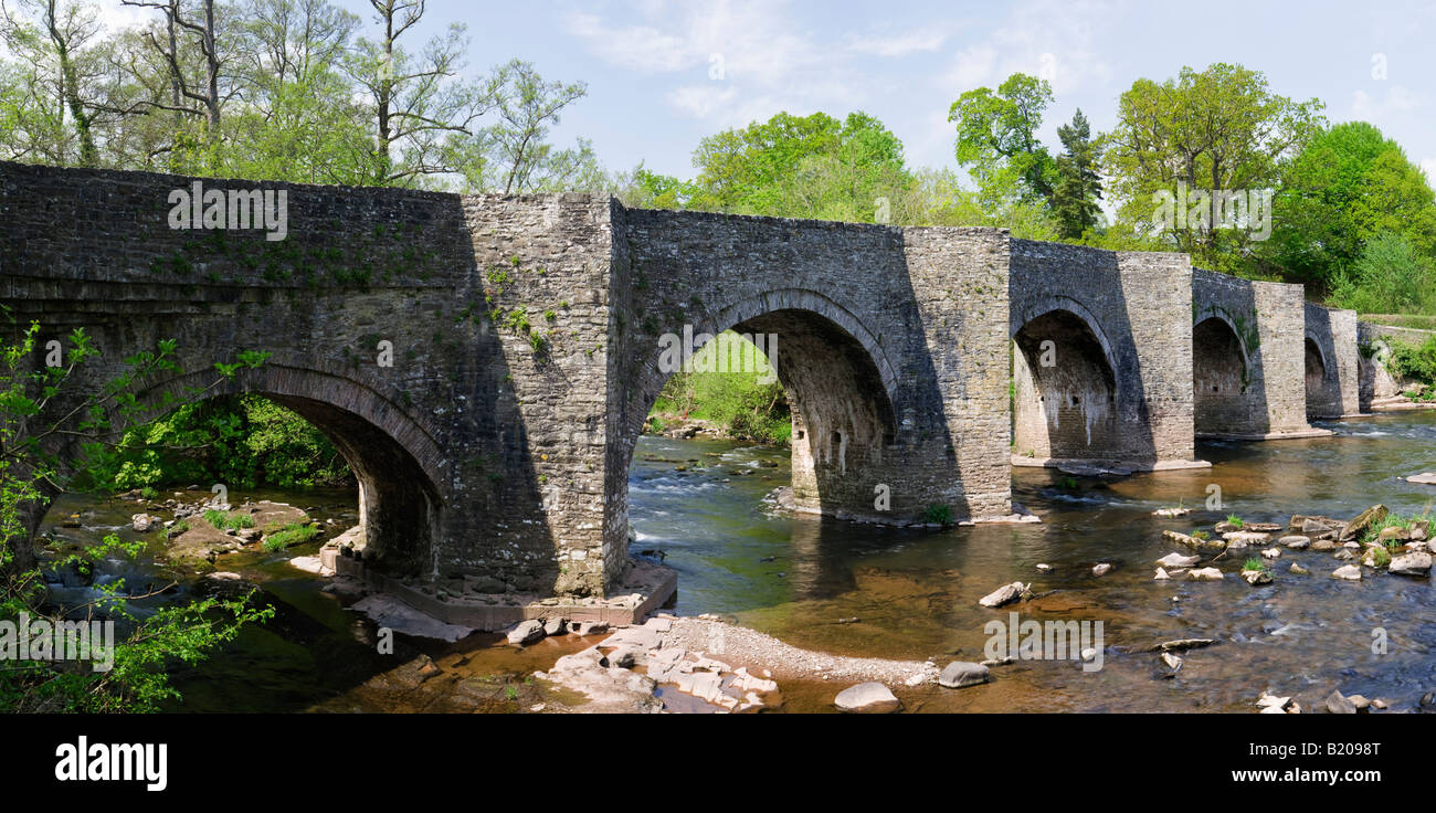 Llangynidr Bridge over River Usk, Powys, Brecon Beacons, Wales, UK - Stock Image