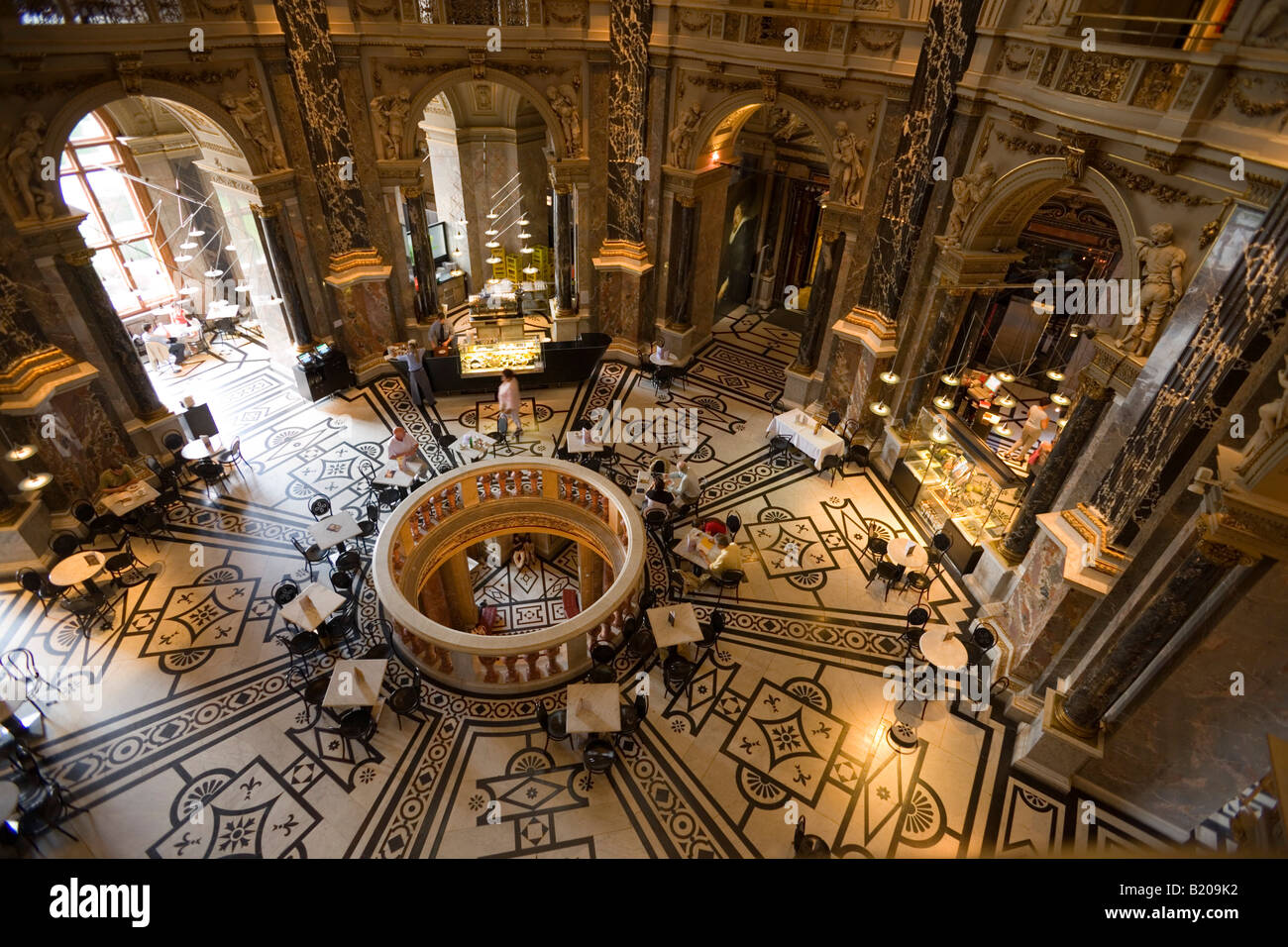 View inside a Cafe in the cupola hall of the Kunsthistorisches Museum Art Histroy Museum Vienna Austria Stock Photo