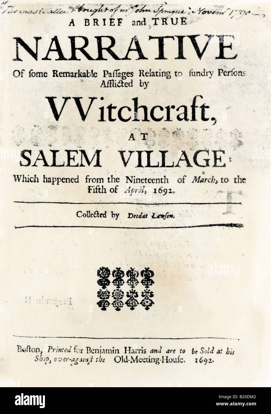 Witchcraft at Salem Village title page 1692. Woodcut with a watercolor wash - Stock Image