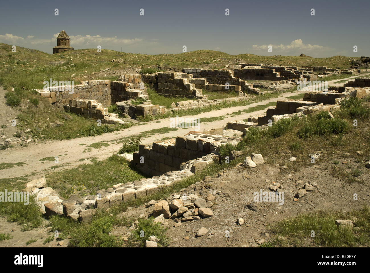 Remains of street of shops at Ani, ruined capital of Armenian Kingdom, on eastern Turkey border with Armenia - Stock Image