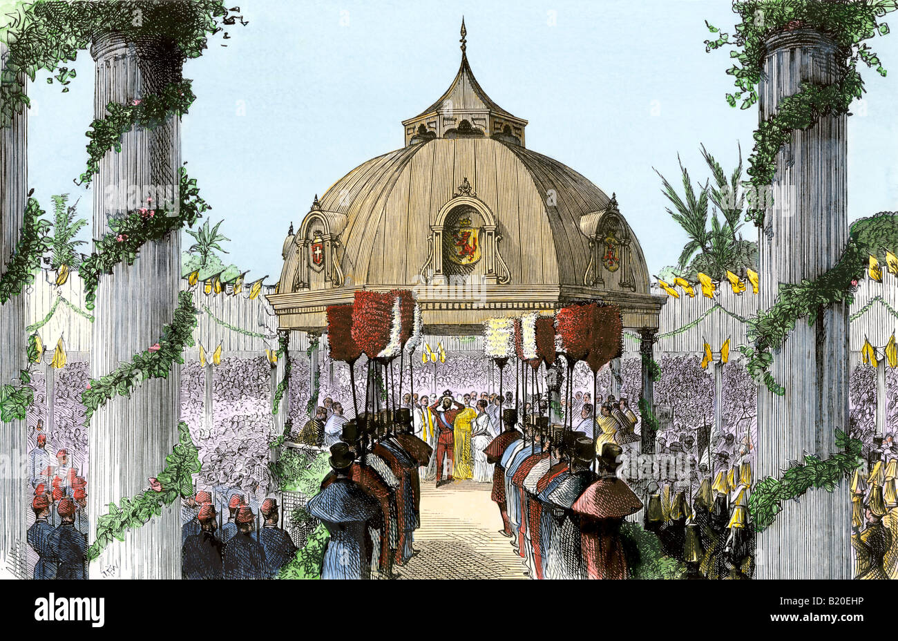 Coronation of the king of the Sandwich Islands 1870s - Stock Image