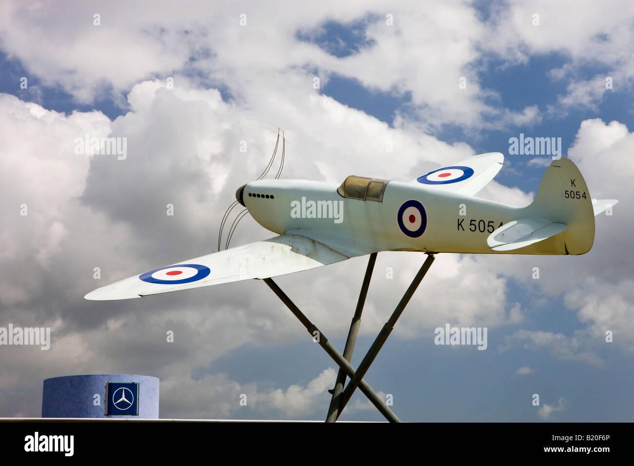 Replica of a Supermarine Spitfire outside Southampton Airport Hampshire England - Stock Image