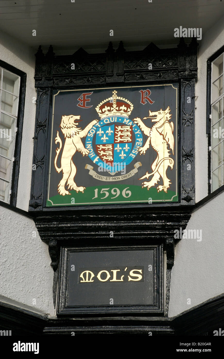 Close up of the Elizabethan coat of arms on Mols Coffee house, Exeter, Devon, UK - Stock Image
