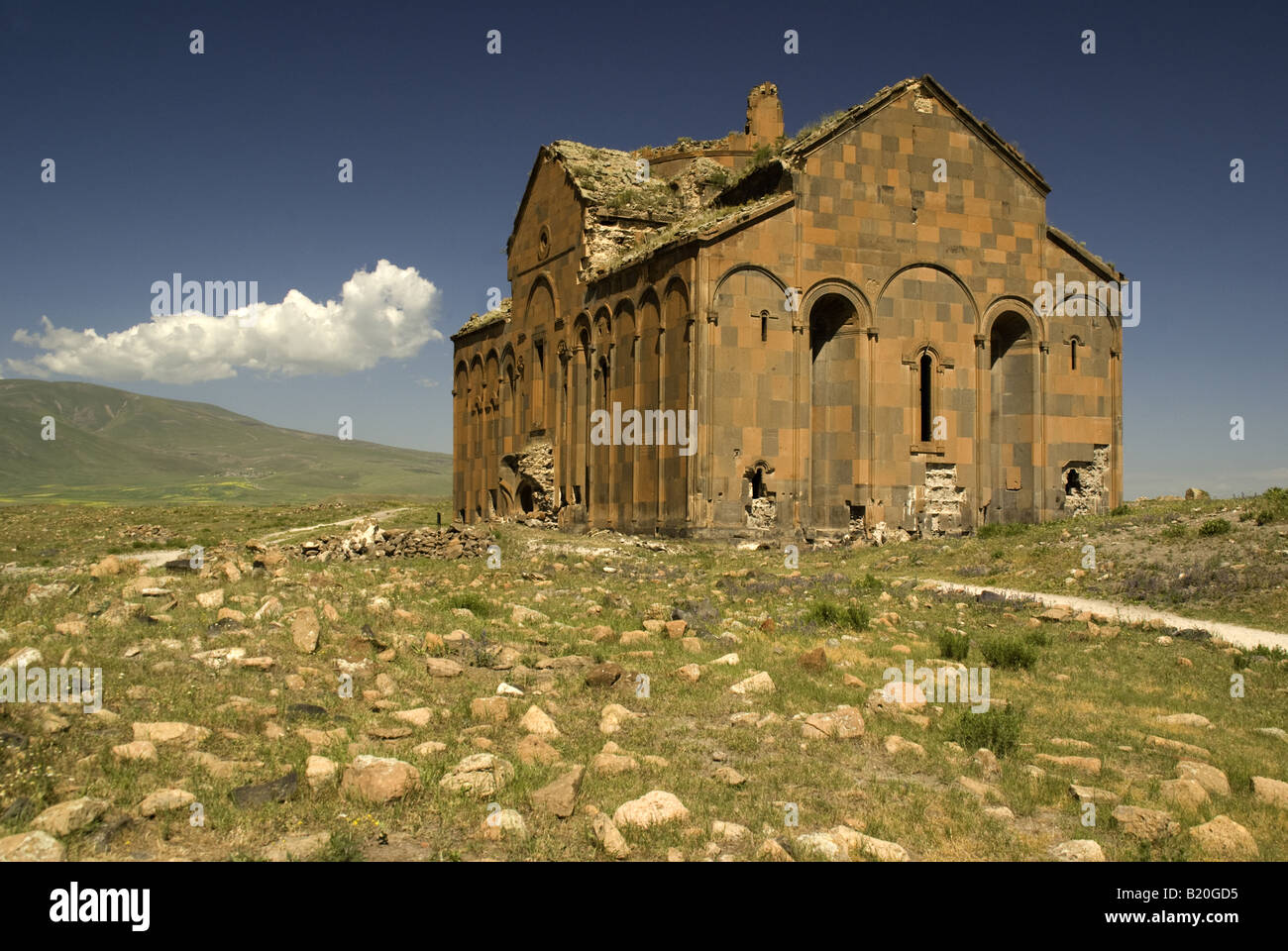 Remains of Great Cathedral at Ani, ruined capital of Armenian Kingdom on eastern Turkey border with Armenia - Stock Image