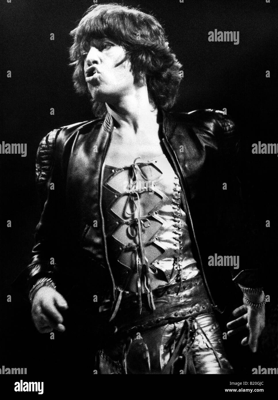 Mick Jagger at Wembly Concert in 1974 - Stock Image