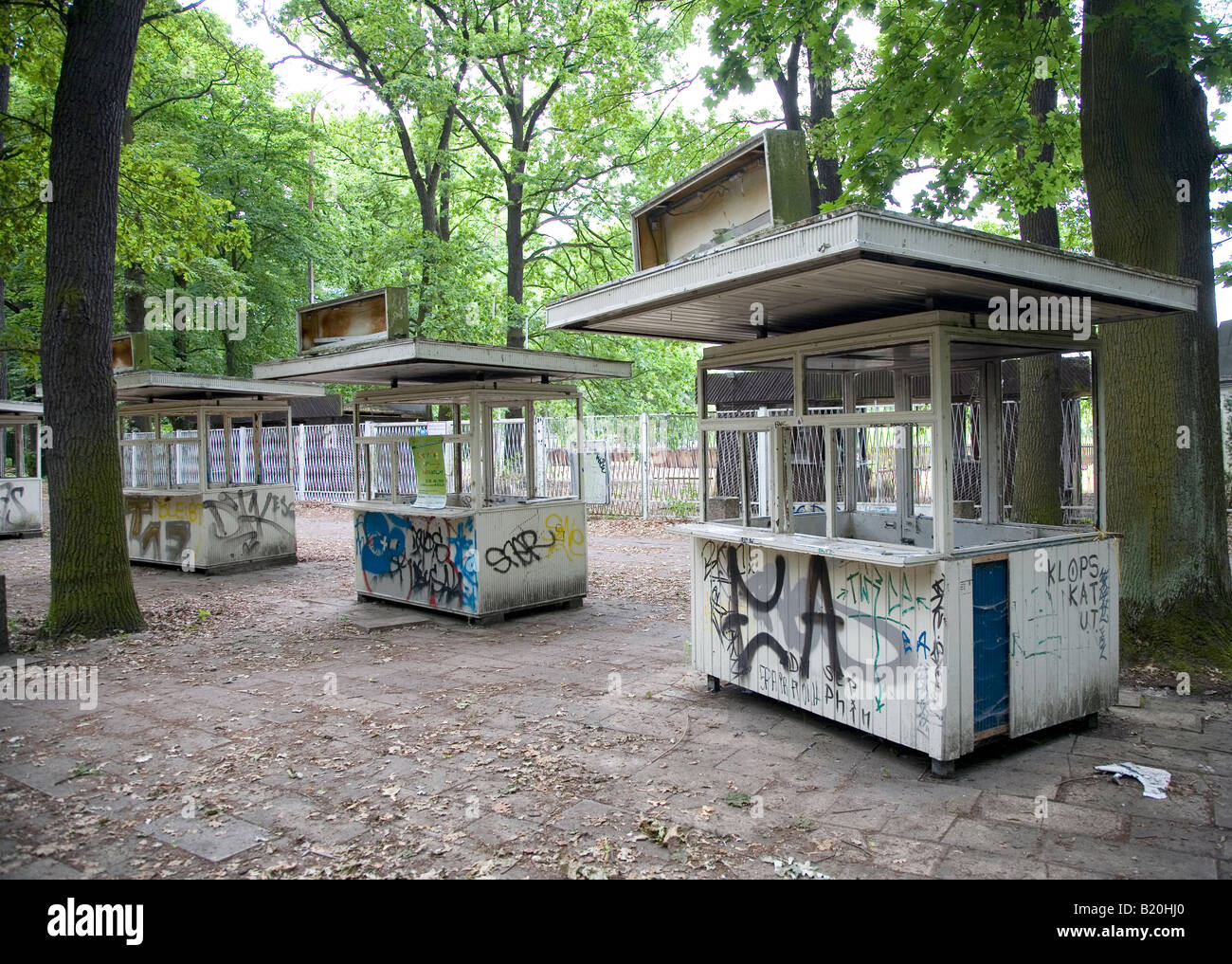 A Row Of Ticket Booths At An Old Abandoned Theme Park In Berlin Stock Photo Alamy
