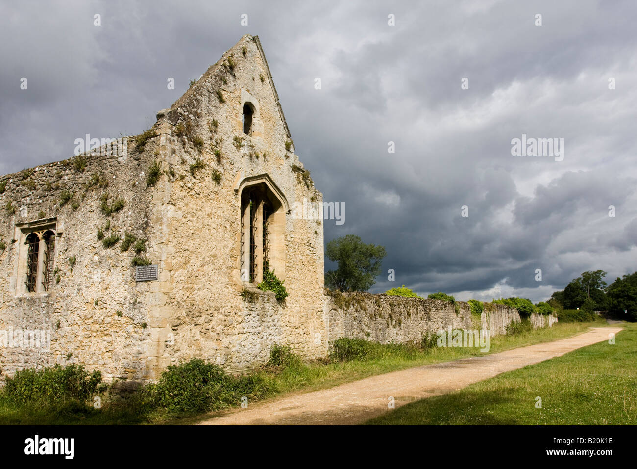 Storm Clouds Accentuate the Ruins of Godstow Nunnery Rumoured to be Haunted by the Ghost of Fair Rosamund Mistress Stock Photo