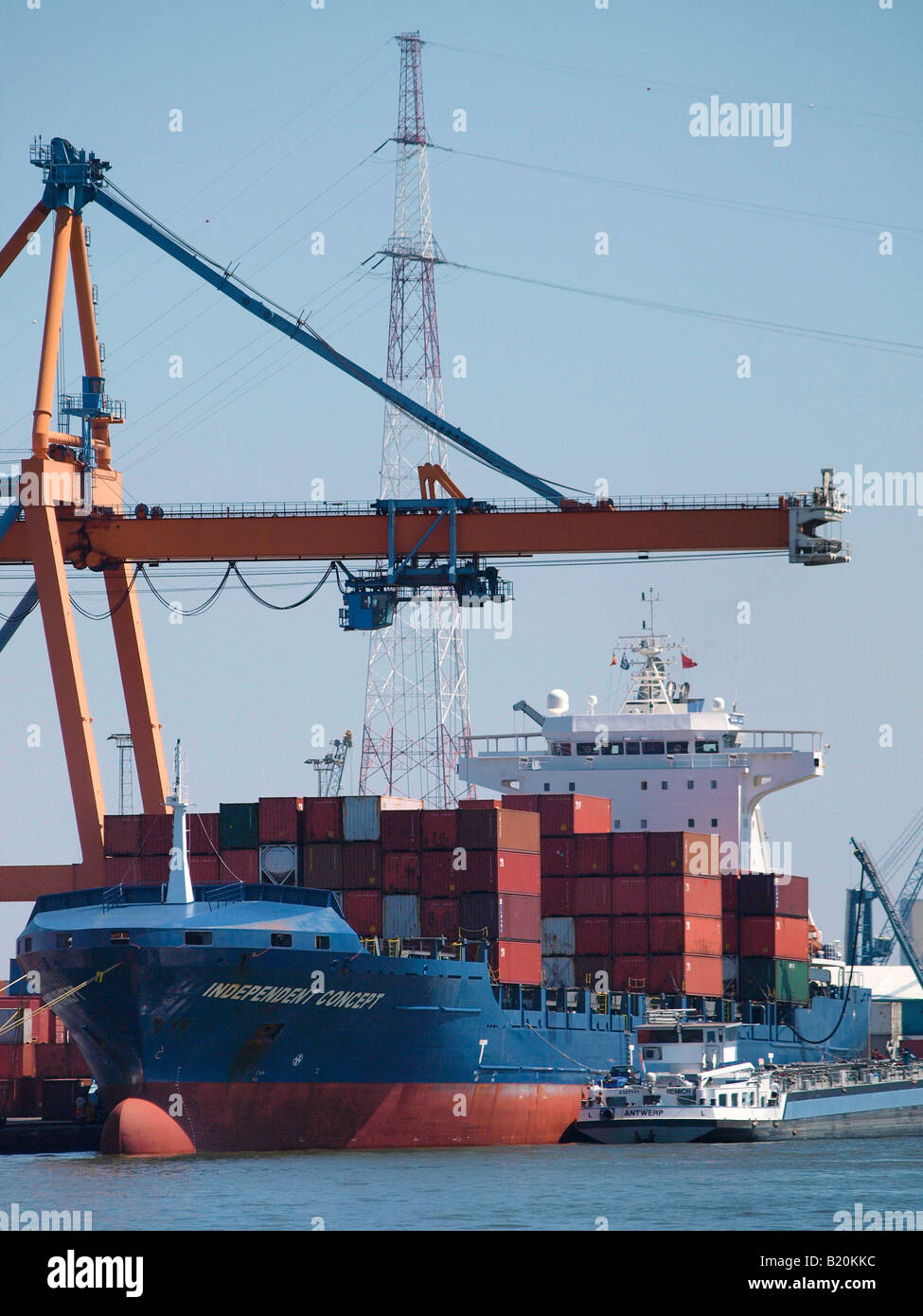 Container ship in the port of Antwerp Belgium - Stock Image