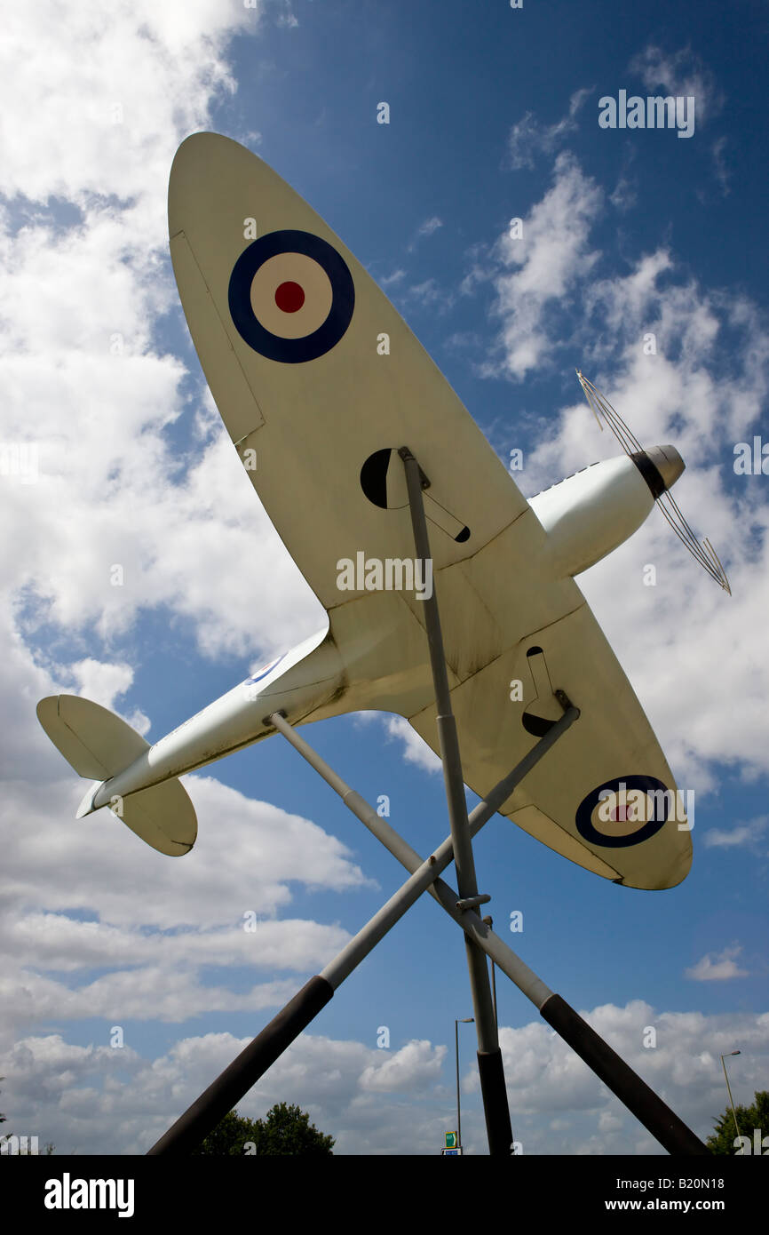 Replica of a Supermarine Spitfire outside Southampton Airport Hampshire England Stock Photo