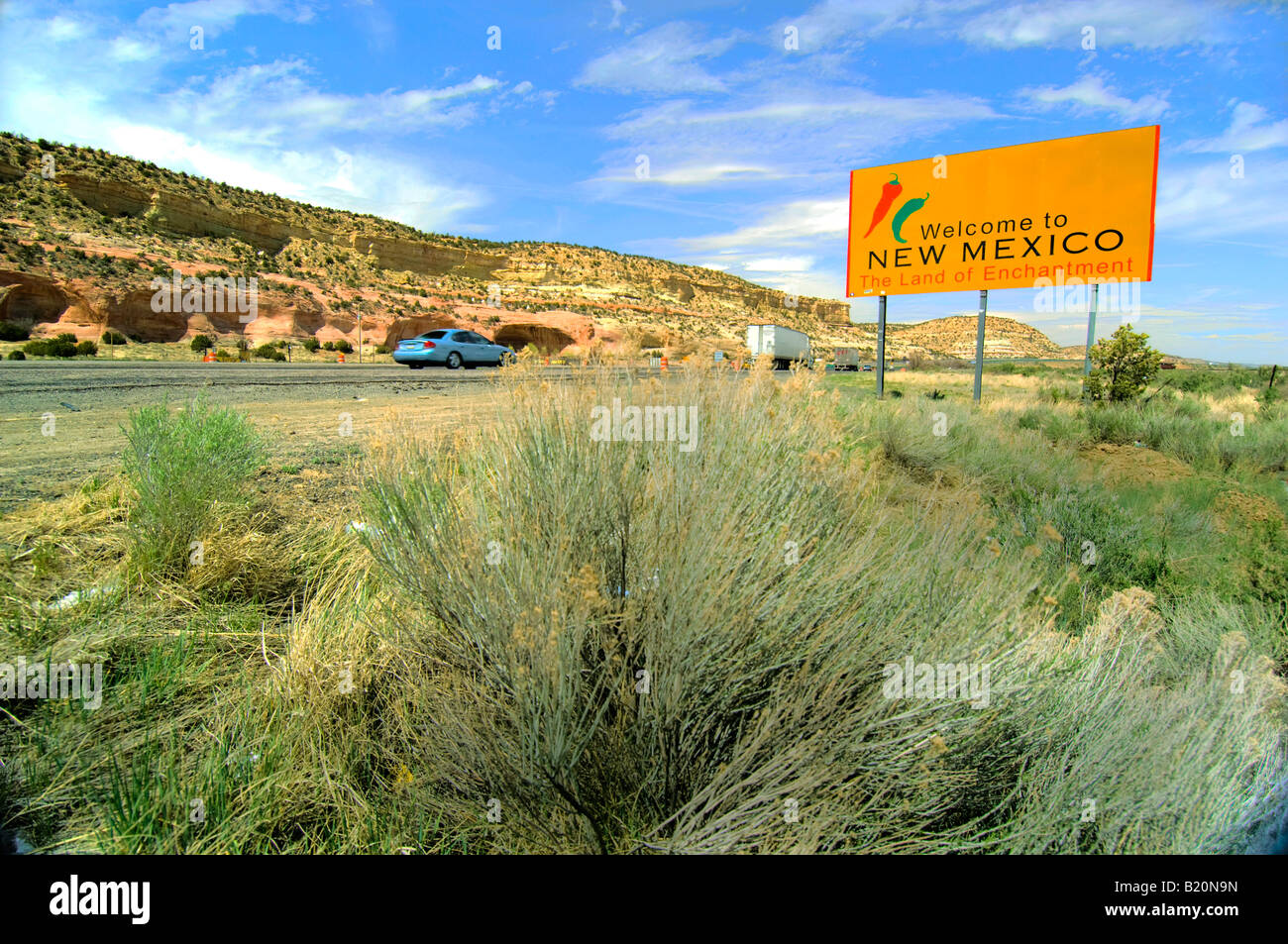 Welcome to New Mexico state sign - Stock Image