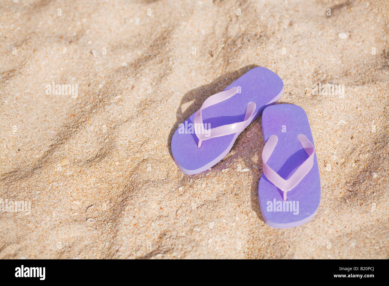 59aa86a664b2 Pair of purple flip flops on the beach Stock Photo  18457282 - Alamy