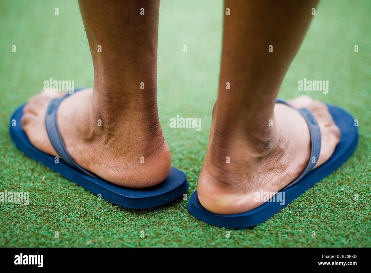 Back of man's feet wearing blue flip flops - Stock Image