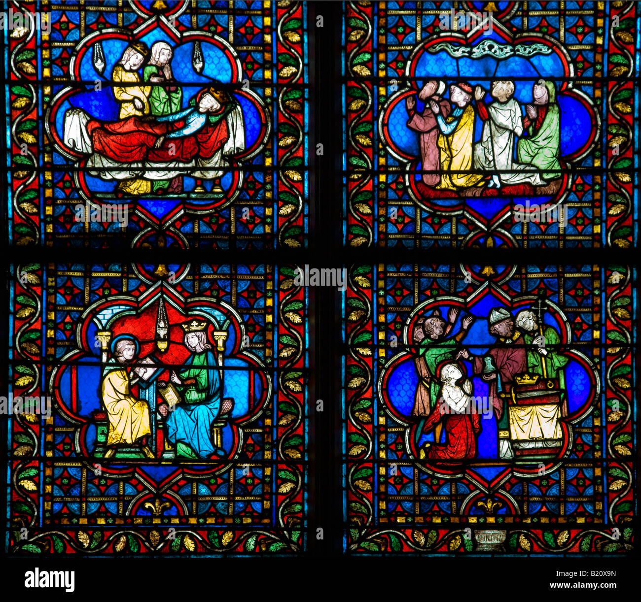 Notre Dame Cathedral interior medieval stained glass panels Paris France Europe EU - Stock Image