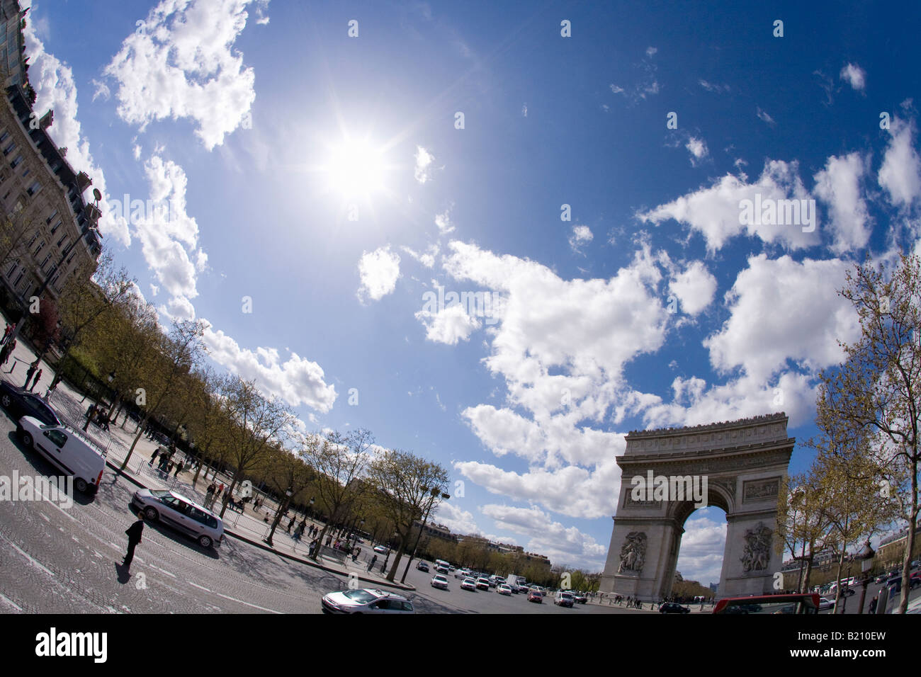 Arc de Triomphe on a sunny spring day Place Charles de Gaulle Champs Elysee Etoile Paris France Europe EU - Stock Image