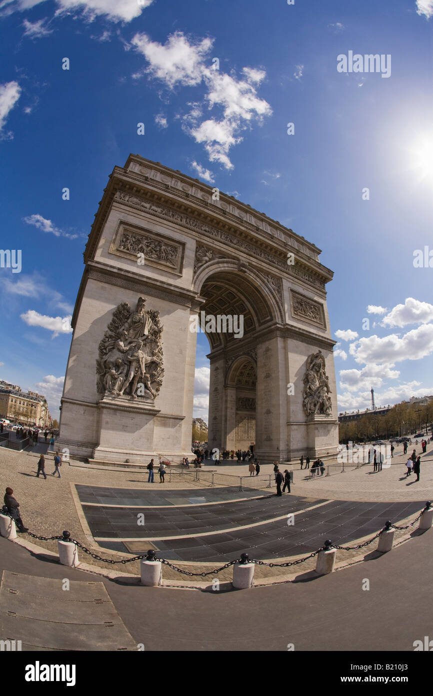 Arc de Triomphe in spring sunshine daytime Place Charles de Gaulle Champs Elysee Etoile Paris France Europe EU - Stock Image