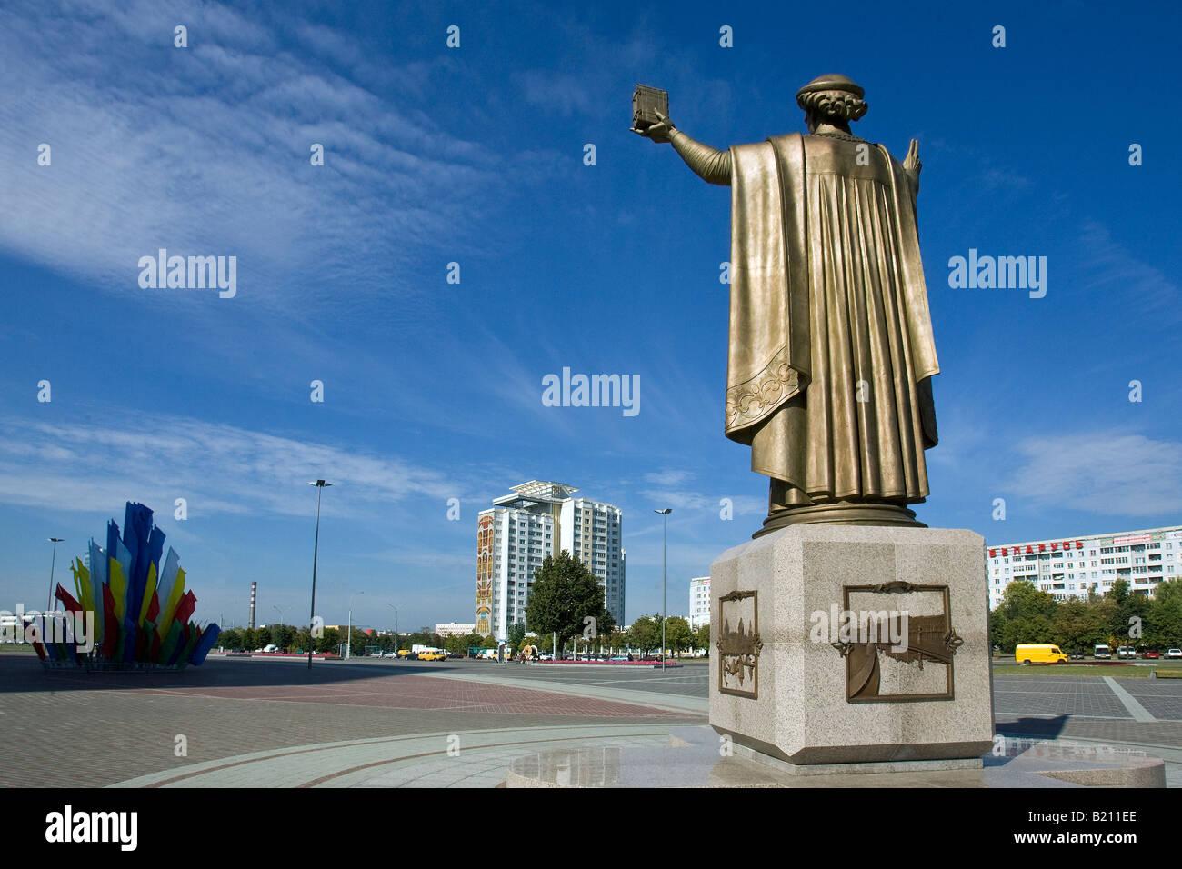 A statue of the scholar Frantsysk Skaryna in Minsk, capital of Belarus. - Stock Image
