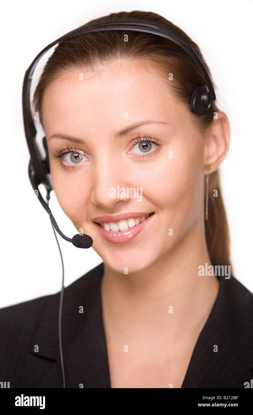 girl telephone operator - Stock Image