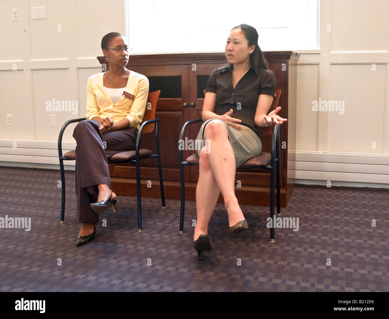 admissions office staff at information session with prospective students and parents, Swarthmore College, Pennsylvania, - Stock Image