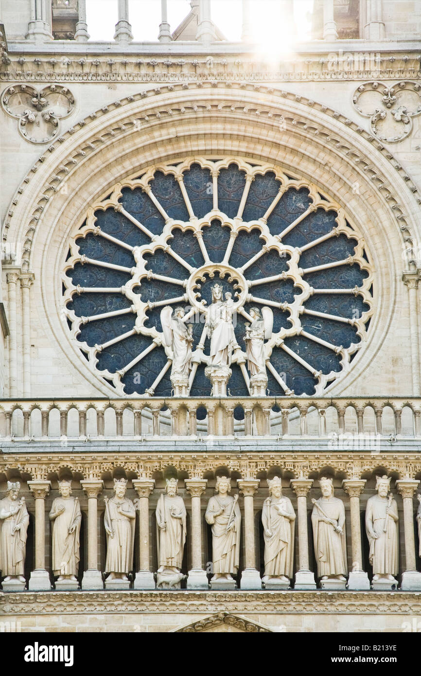 Notre Dame Cathedral front west facade entrance detail Paris France Europe EU Stock Photo