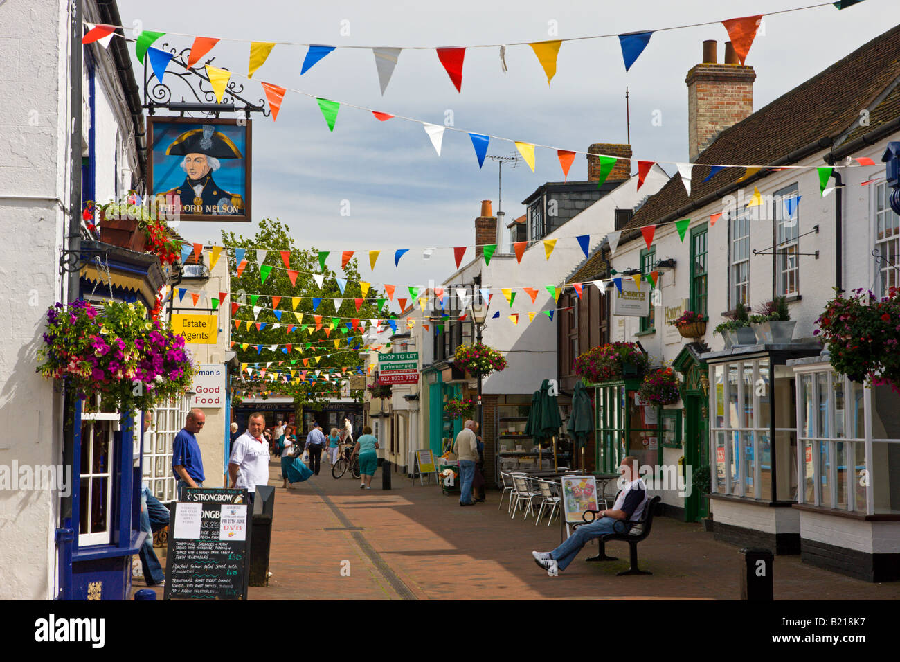 The village of Hythe lies between Southampton Water and the New Forest Hampshire England - Stock Image