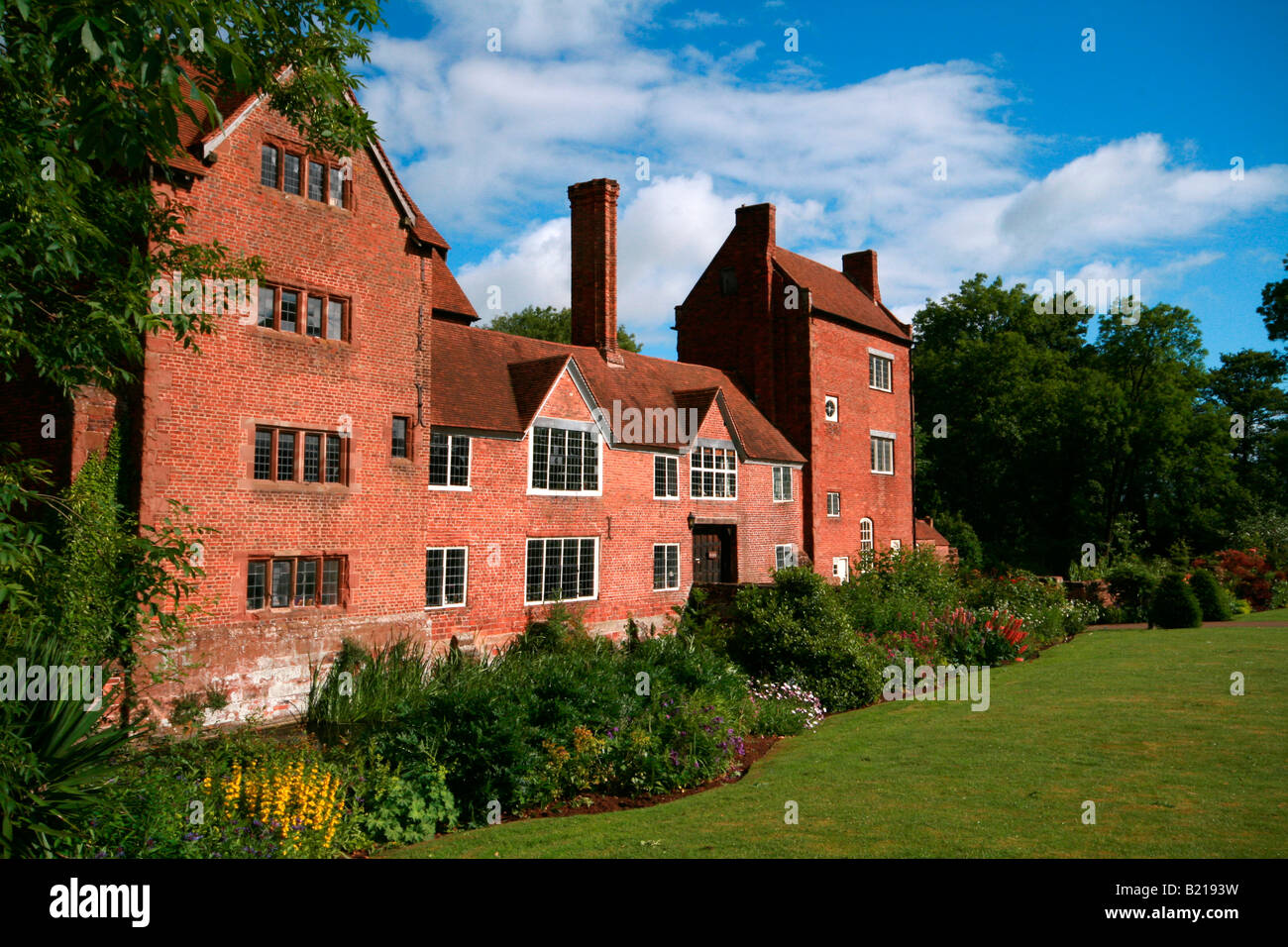 Harvington Hall a Medieval and Elizabethan Moated Manor House near Kidderminster, Worcestershire - Stock Image