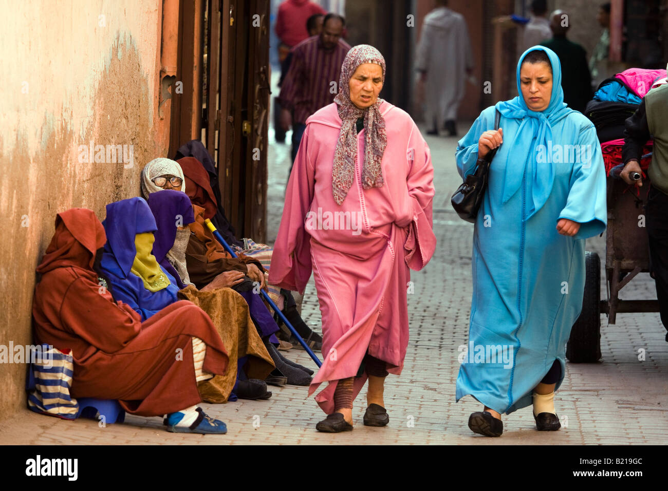 b1aeac73467 Marrakech Moroccan women in traditional dress walking in the old town