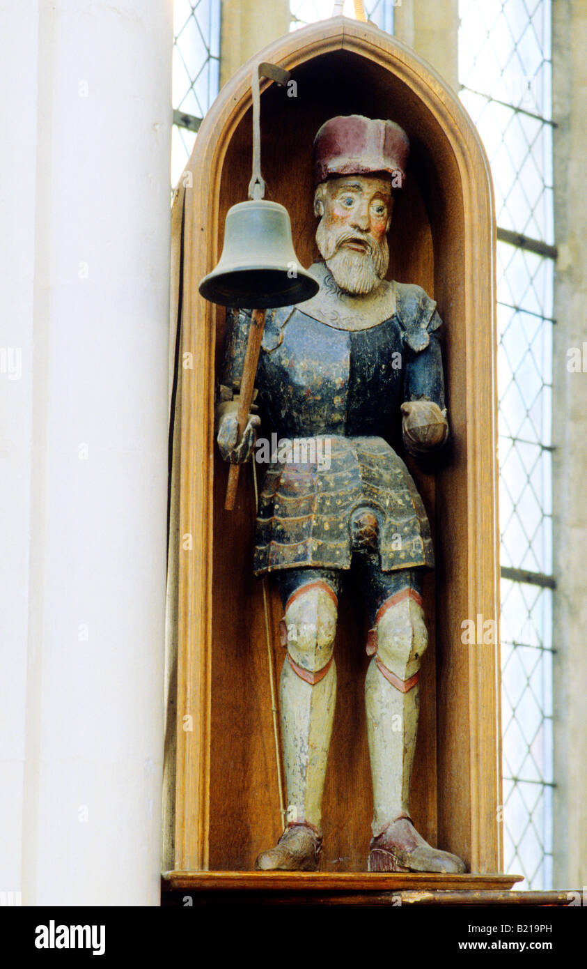 Blythburgh Jack of the Clock Suffolk England UK bell medieval soldier 15th century striking statue armour costume - Stock Image