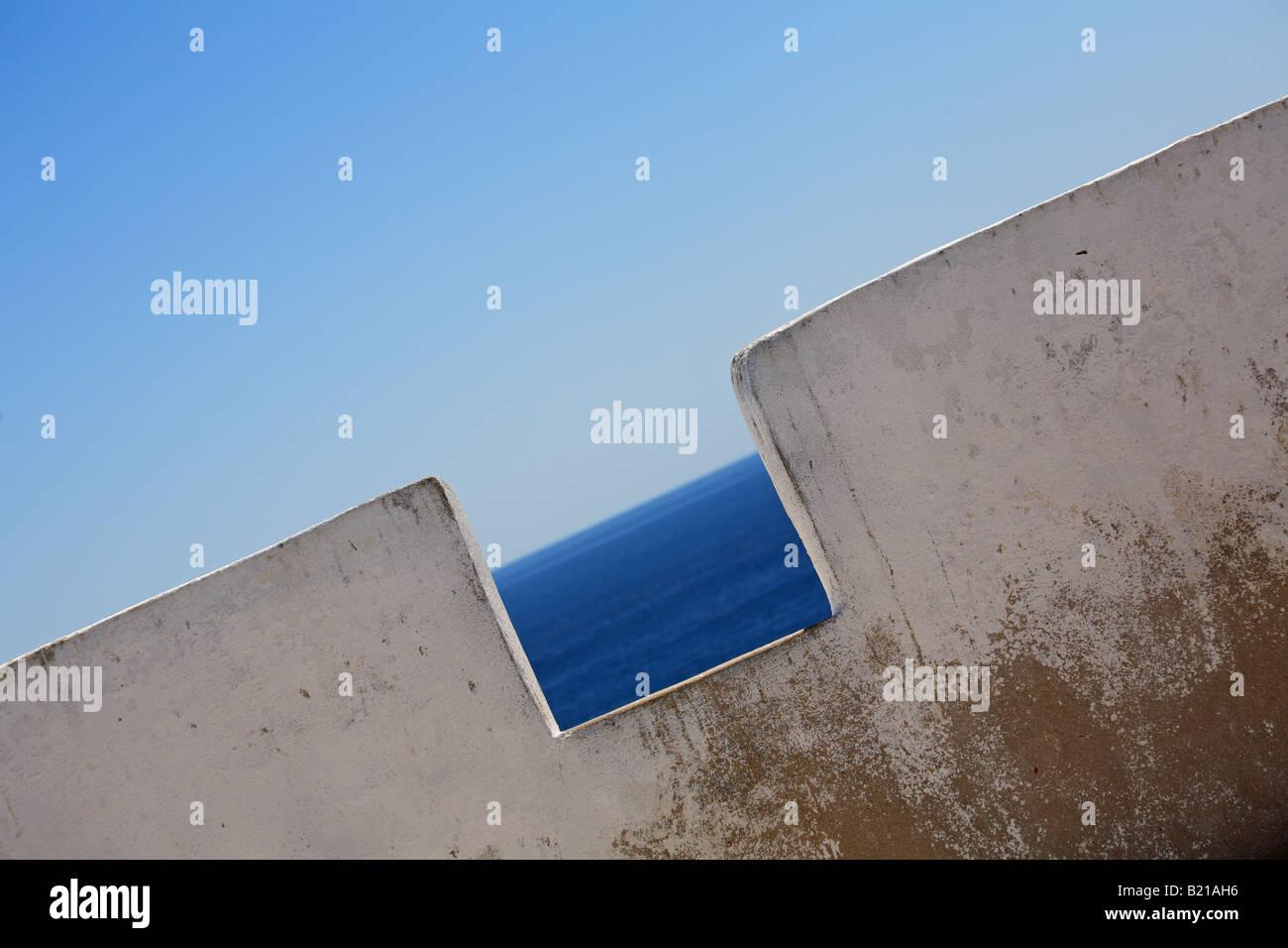 A white wall at Fortaleza de Sagres, Sagres, Algarve, Portugal - Stock Image