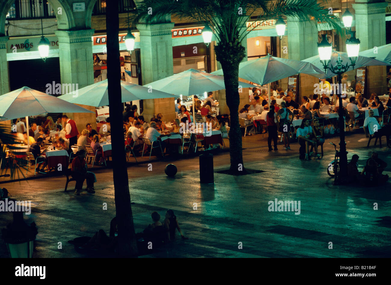 Restaurants Placa Reial in Old Town Barcelona Catalonia Spain Stock Photo
