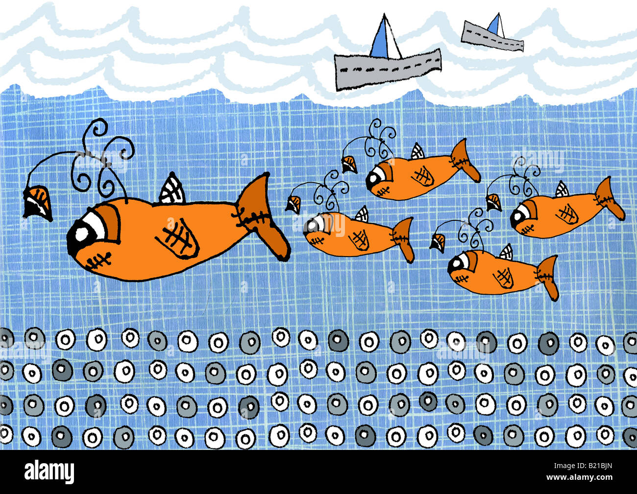 Children's style illustrations of fishes swimming in the sea - Stock Image