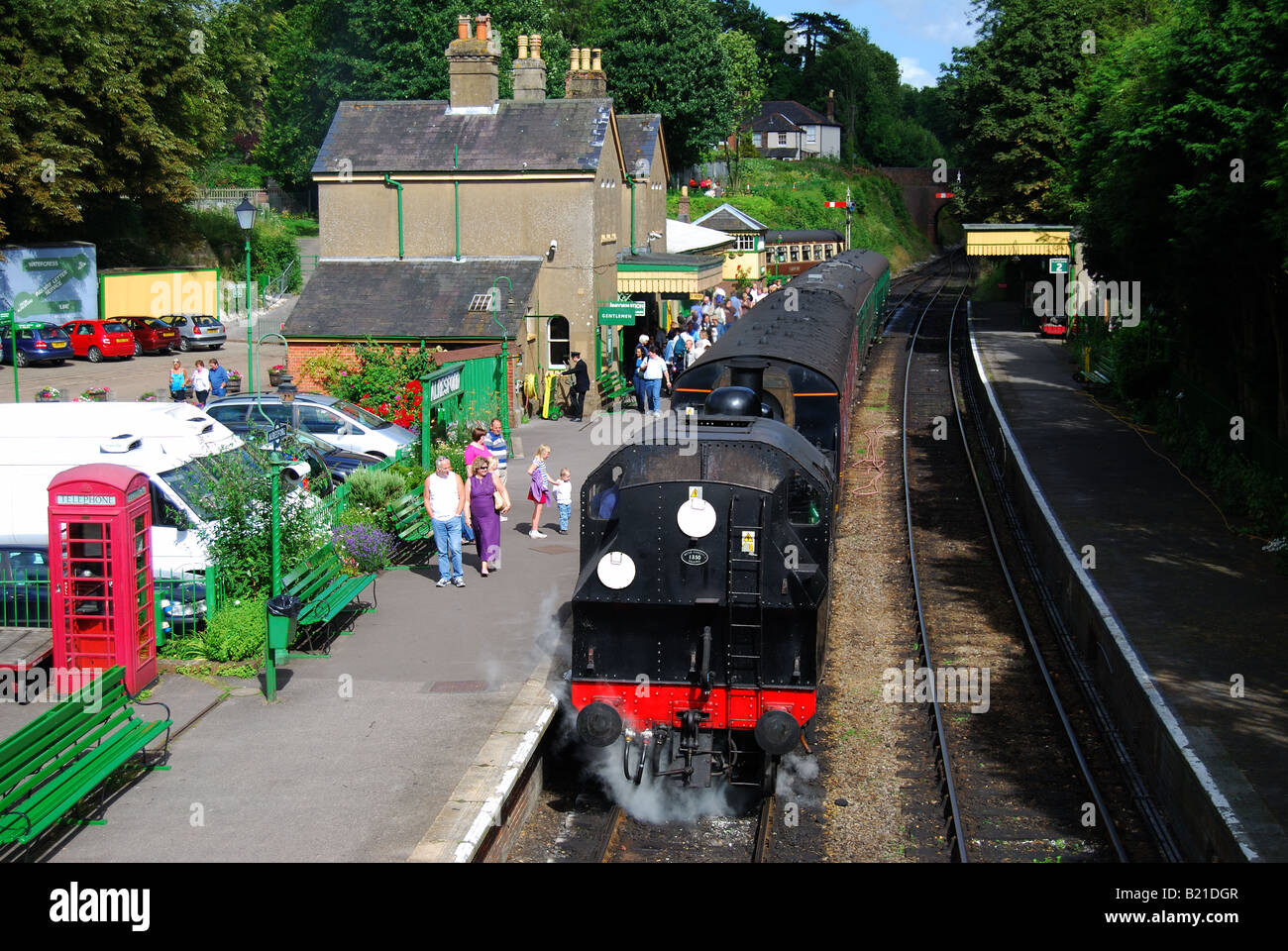 Steam Train, Alresford Station, Mid Hants Watercress Heritage Railway, New Alresford, Hampshire, England United - Stock Image