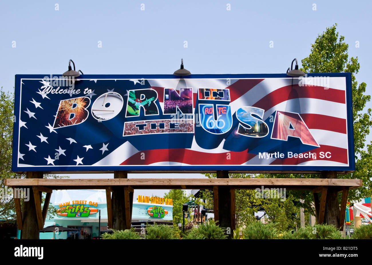 Hard Rock Park Myrtle Beach South Carolina SC Born in the USA Billboard section of theme park - Stock Image