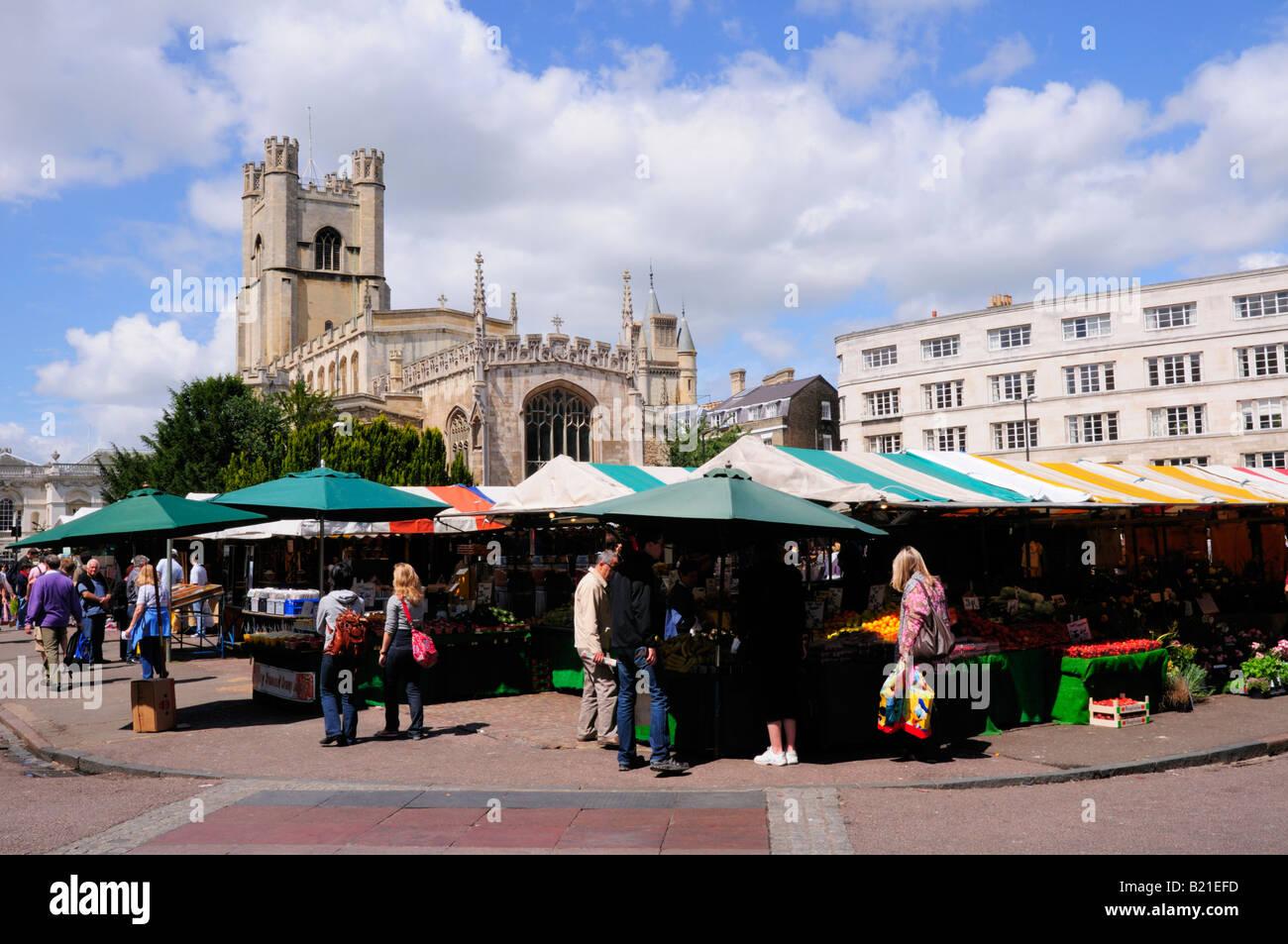 Market and Great St Marys Church, Cambridge England UK - Stock Image