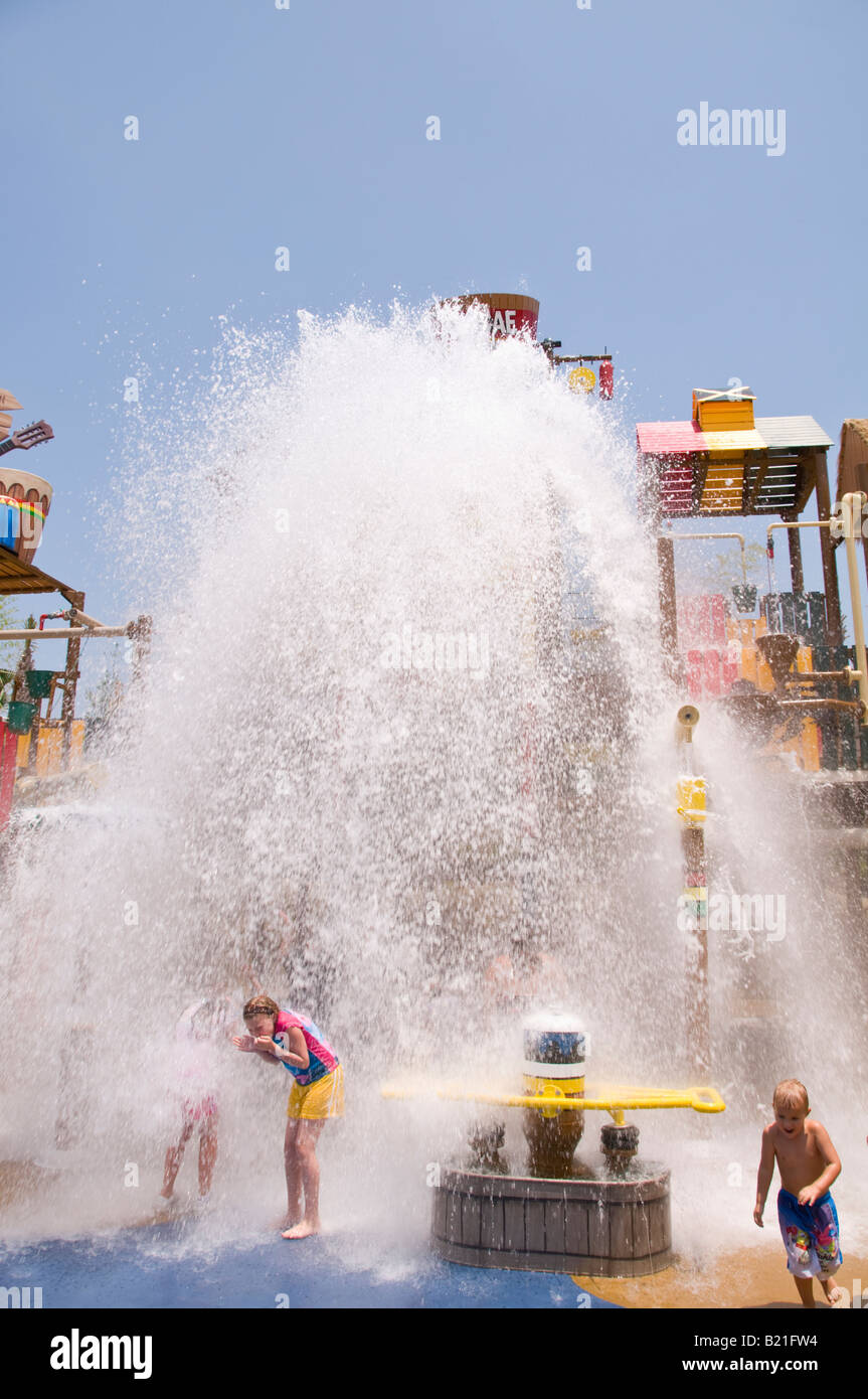 water bucket dumps on tourists Freestyle Music Park former Hard Rock Park Myrtle Beach tourists children South Carolina - Stock Image