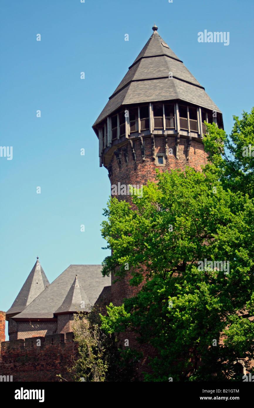 Tower of Castle Linn, Krefeld, Germany - Stock Image