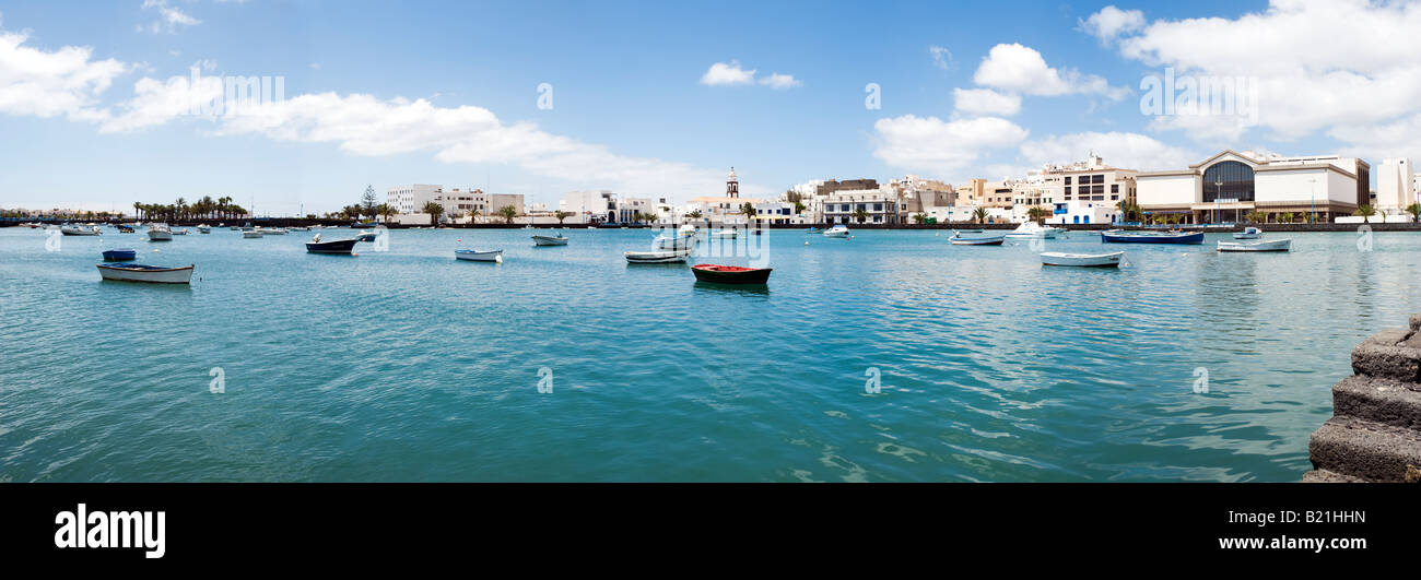 panoramic view of Charco de San Gines, the laguna in the city of Arrecife, Lanzarote - Stock Image