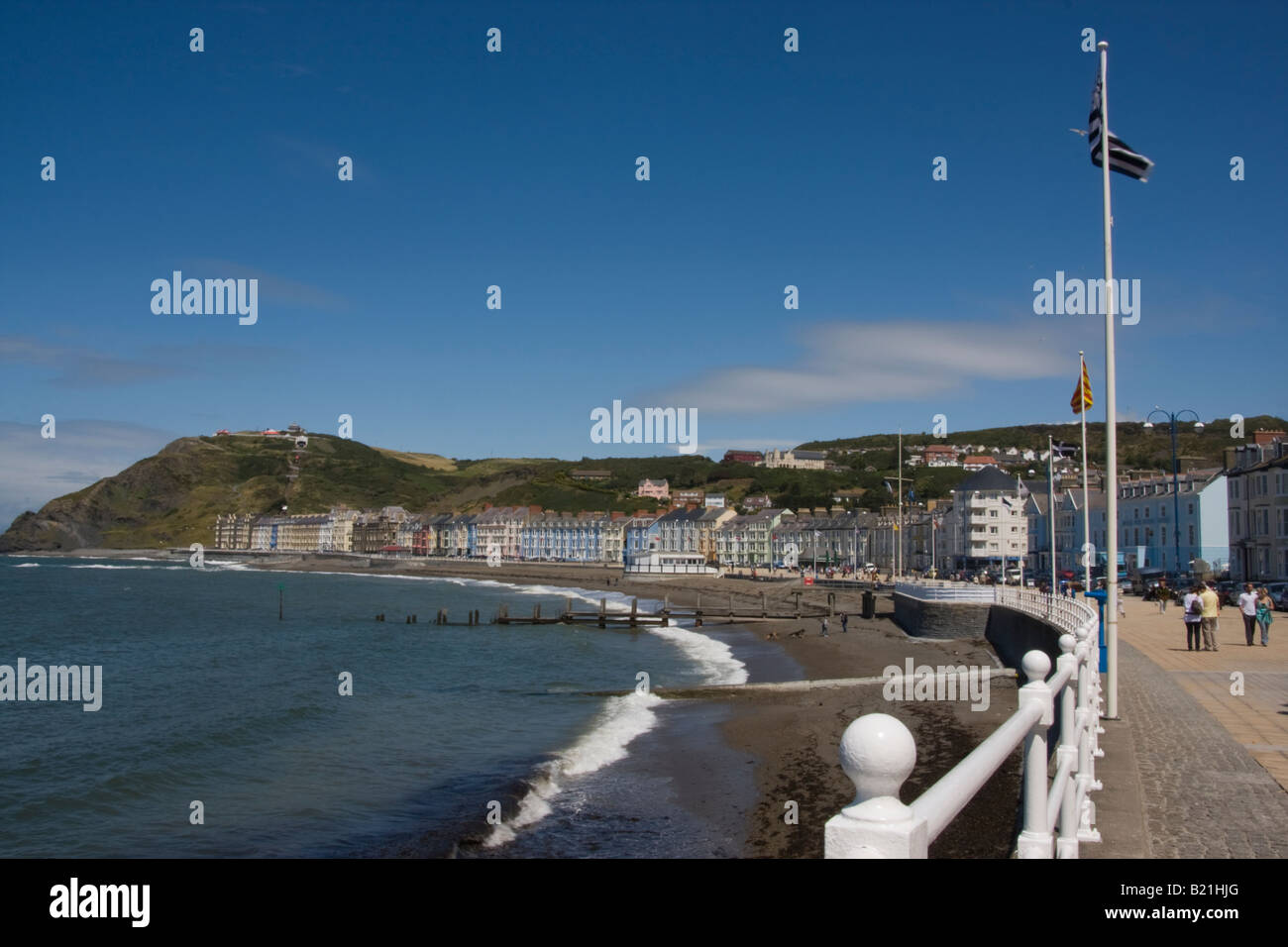 promenade and seaside at aberystwyth mid wales - Stock Image